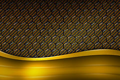 Yellow banner on gold carbon fiber hexagon. Background and texture. 3d illustration royalty free illustration