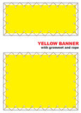 Yellow banner with grommet and rope. Stock Photos