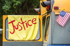 Yellow banner on old bus Royalty Free Stock Photos