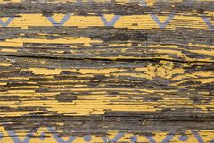 Yellow Barn Wooden Wall Planking Horizontal Texture. Old Wood Slats Rustic Shabby Empty Background. Paint Peeled Brown Weathered I stock photography