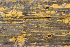 Yellow Barn Wooden Wall Planking Horizontal Texture. Old Wood Slats Rustic Shabby Empty Background. Paint Peeled Brown Weathered I royalty free stock photography
