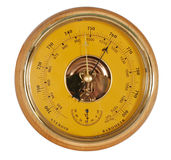 Yellow barometer. With white background royalty free stock image