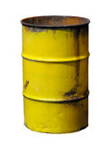 Yellow barrel. An old rusted yellow steel drum isolated on white. Clipping path included Stock Photography