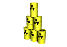 Yellow barrel with radiation sign Stock Image