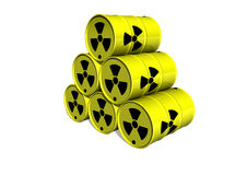 Yellow barrel with radiation sign Stock Photos