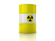 Yellow barrel with sign of radiation Stock Images