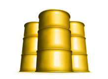 Yellow barrels. Tree yellow tanks filed with toxic waste Stock Images