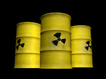 Yellow barrels. Tree yellow tanks filed with radioactive waste Royalty Free Stock Photos