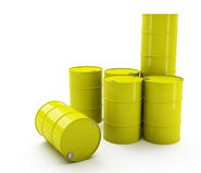 Yellow barrels or drums. Several large, yellow metal barrels or drums, often used to ship oil or liquids. White background royalty free illustration