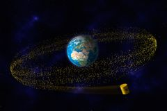 Yellow barrels of nuclear waste orbit the earth Stock Photos