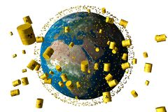 Yellow barrels of nuclear waste orbit the earth vector illustration