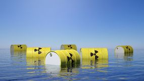 Yellow barrels for radioactive biohazard waste Stock Photos