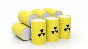 Yellow barrels for radioactive biohazard waste Stock Image