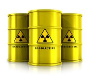 Yellow barrels with radioactive waste. Creative abstract nuclear power fuel manufacturing, disposal and utilization industry concept: group of yellow metal Royalty Free Stock Photo