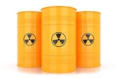 Yellow barrels with radioactive waste Stock Photography