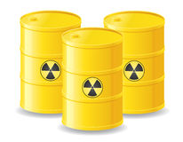 Yellow barrels of radioactive waste vector illustr Royalty Free Stock Photography