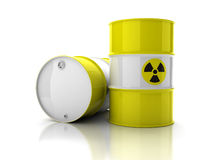 Yellow barrels with sign of radiation. Isolated on white background Royalty Free Stock Photos