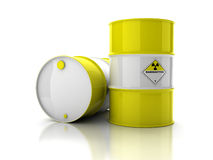 Yellow barrels with sign of radiation. Isolated on white background Stock Photos