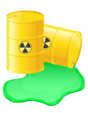 Yellow barrels spilled radioactive waste vector il Royalty Free Stock Images