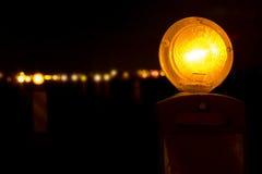 Yellow Barricade Lights stock photo