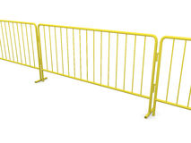 Yellow barrier. Boundary made with construction barriers in yellow Stock Images
