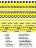 Barrier tapes. Yellow barrier tapes. Vector restriction and attention ribbons. Horizontal seamless. Clipart set Stock Images