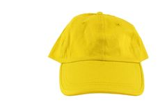 Yellow baseball cap. Isolated on white stock photography