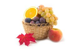 Yellow basket and fruit grapes. Peach an orange plums on white background Stock Image