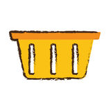 Yellow basket shopping online store sketch Stock Images