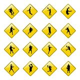 Yellow basketball sign icons Stock Photography