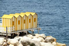 Yellow Bath Houses Royalty Free Stock Images