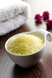 Yellow bath salt Stock Images