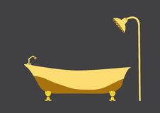 Yellow bath tub on grey backgrounds Stock Photography