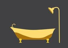 Yellow bath tub on grey backgrounds Stock Photography