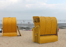 Yellow Beach Baskets at beach Stock Images