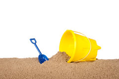 Yellow beach bucket Royalty Free Stock Photography