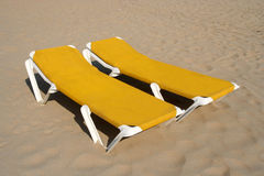 Yellow Beach Chairs Stock Photo