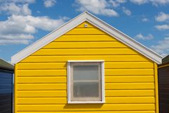 Yellow Beach Hut, Southwold, Suffolk, UK. Stock Photo