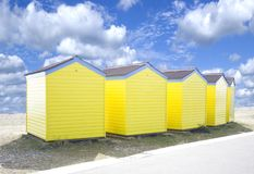 Yellow beach huts Royalty Free Stock Photo