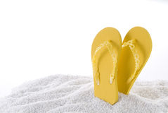 Yellow beach sandals Royalty Free Stock Image