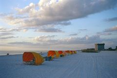 Yellow beach tents at sunset. In Clearwater, Florida Royalty Free Stock Photo