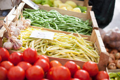 Yellow beans market Stock Photos