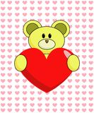 Yellow Bear with Heart. Cute cartoon bear holding a big red heart with tiny pink hearts in the background Royalty Free Stock Image