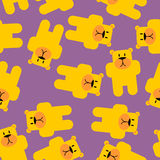Yellow bear Mamey seamless pattern. Yellow bear in purple jelly. Stock Images