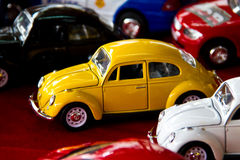 Yellow beatle toy car. In a toy shop, Amphawa, Thailand Stock Photo