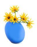 Yellow beautiful bouquet. Camomiles yellow beautiful bouquet in blue vase on white background Royalty Free Stock Photos