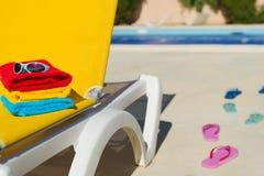 Yellow bed at swimming pool Royalty Free Stock Image