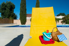 Yellow bed at swimming pool Stock Image