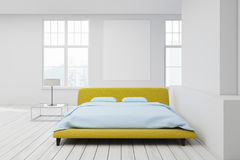 Yellow bed white floor, poster Royalty Free Stock Photography