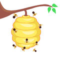 Yellow Bee hive with Bees. Vector Illustration of Yellow Bee hive with Bees stock illustration